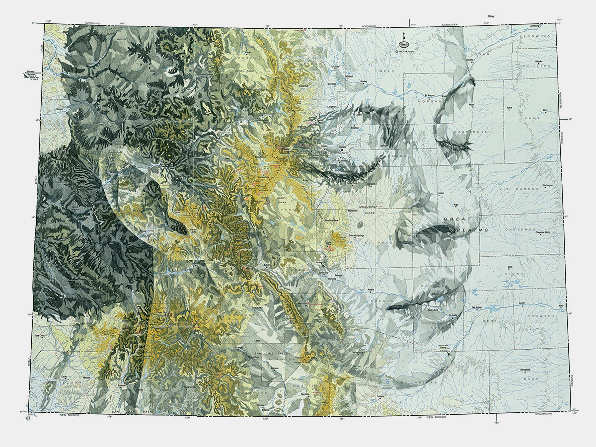 Cartography art with ink on maps Ed Fairburn